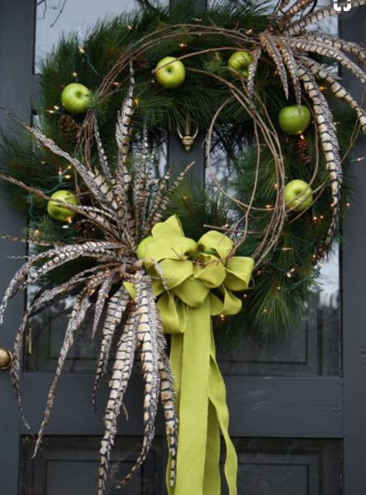 fruit and feather wreath