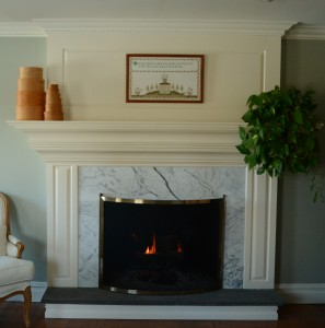 Raised panel surround fireplace