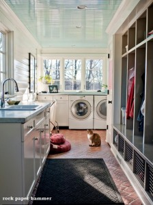 storage in a laundry mudroom