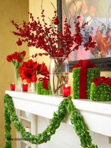 Red and bright green mantel