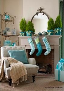 turquoise blue mantel