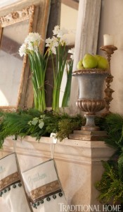 paper whites and greens on mantel