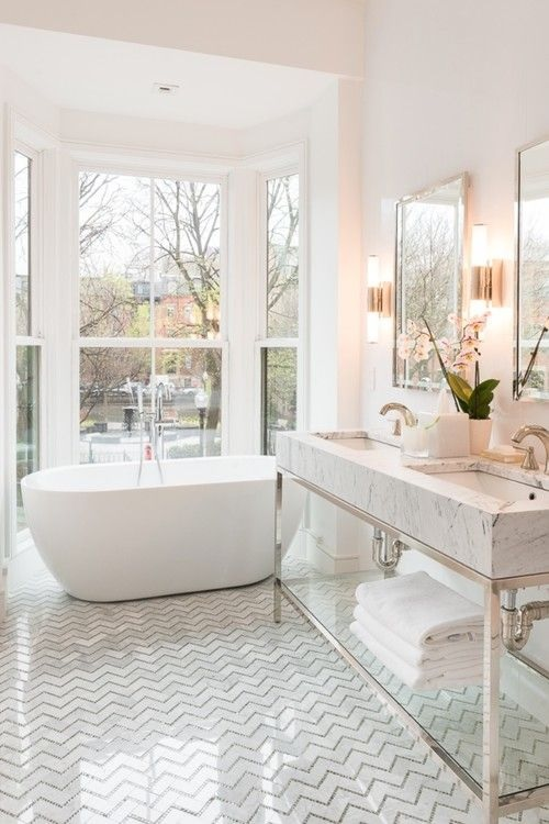trending finishes make this bath timeless