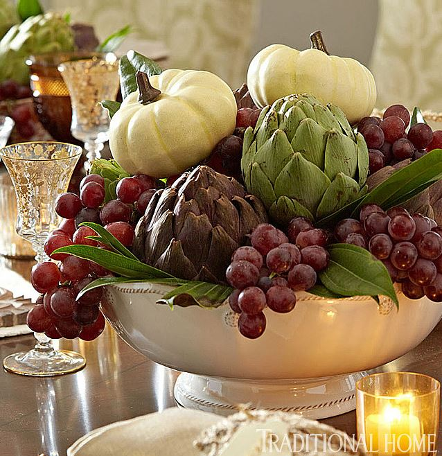 artichoke grapes and bowl table decorations