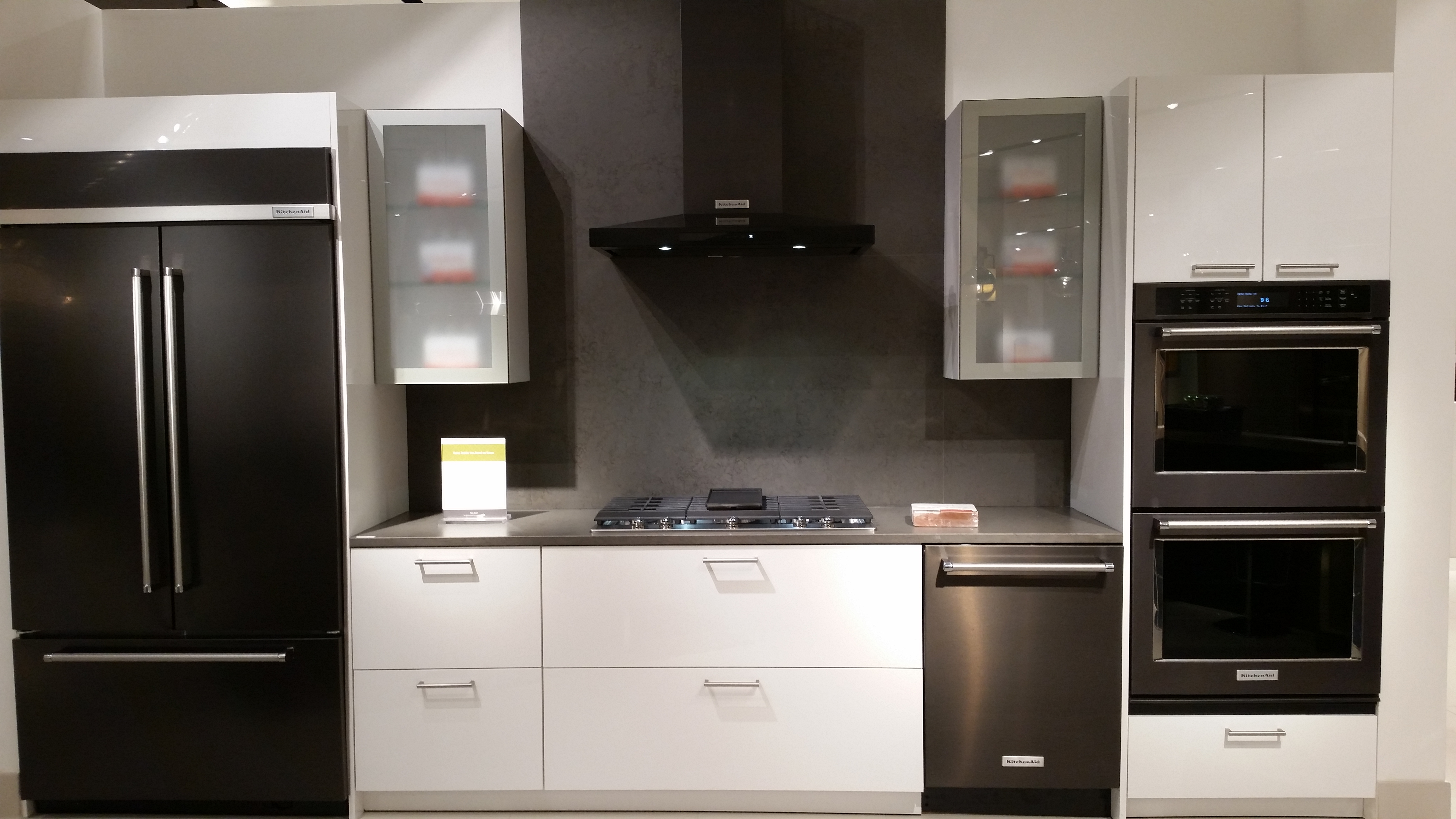 black, gray and white kitchen