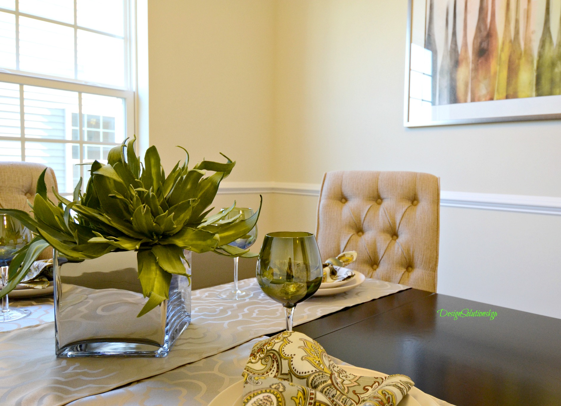 dining room staged and photographed to attract buyers