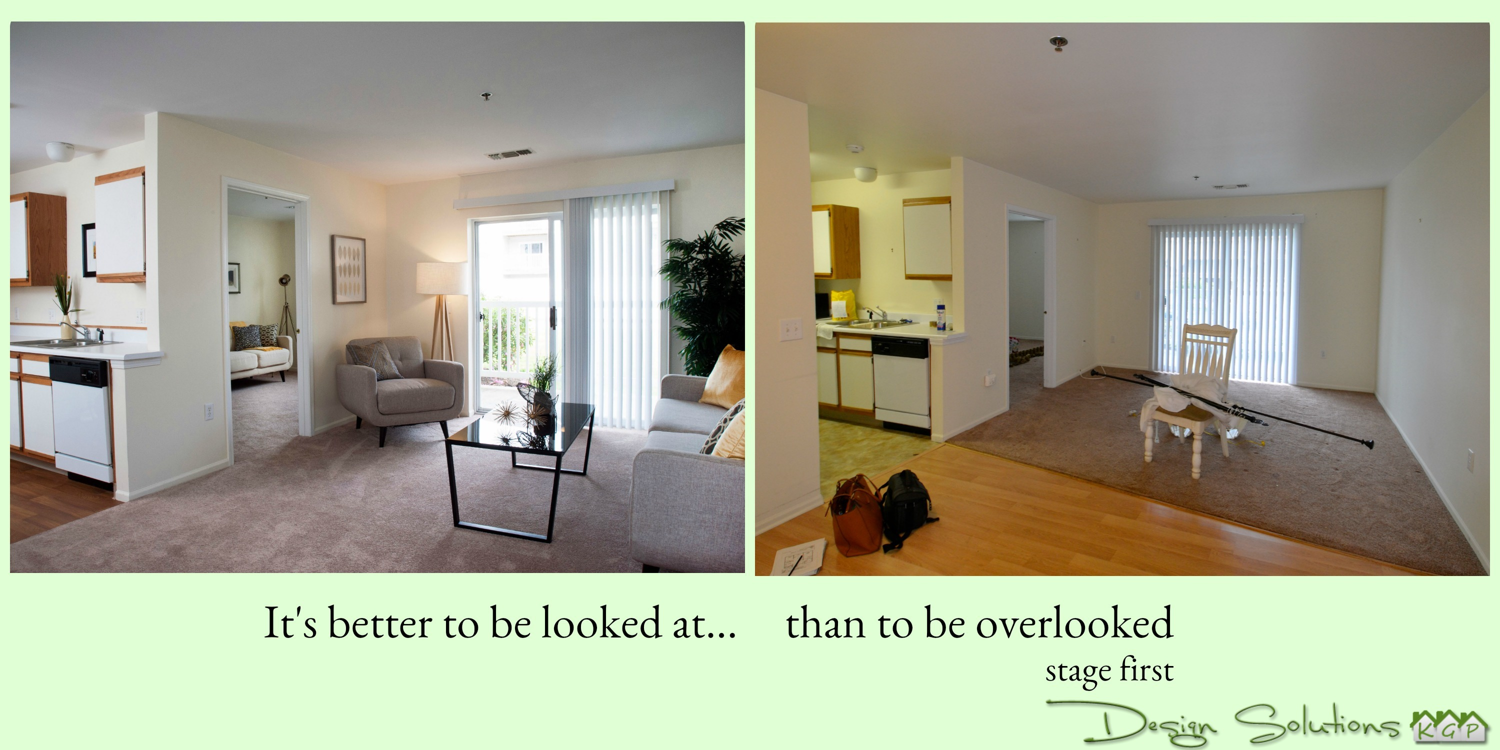 staged room and vacant room better to be looked at than overlooked