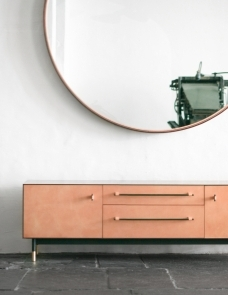dusty pink bronze and leather credenza by BDDW