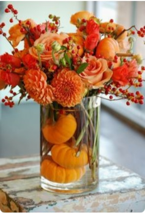 fall decor orange floweres and berries