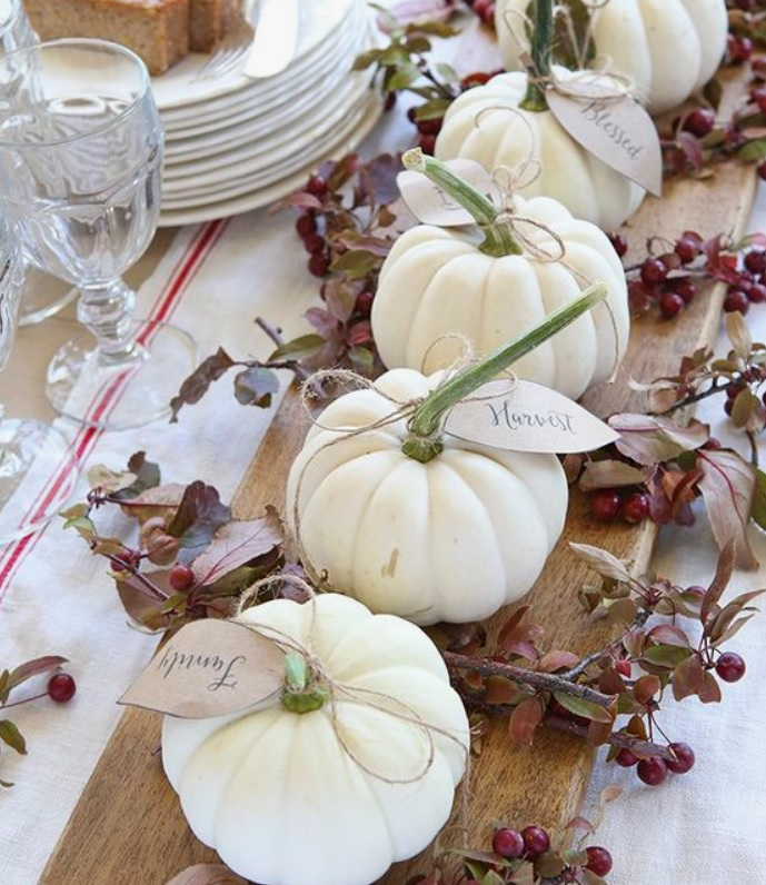 white gourds on wood tray