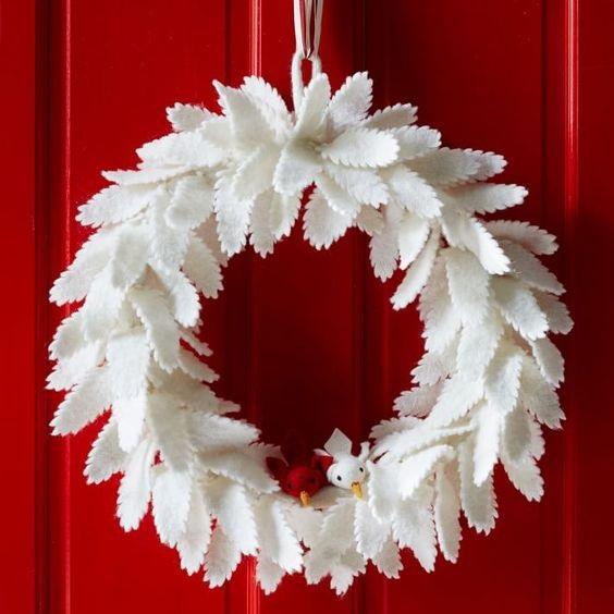 winter door decorating
