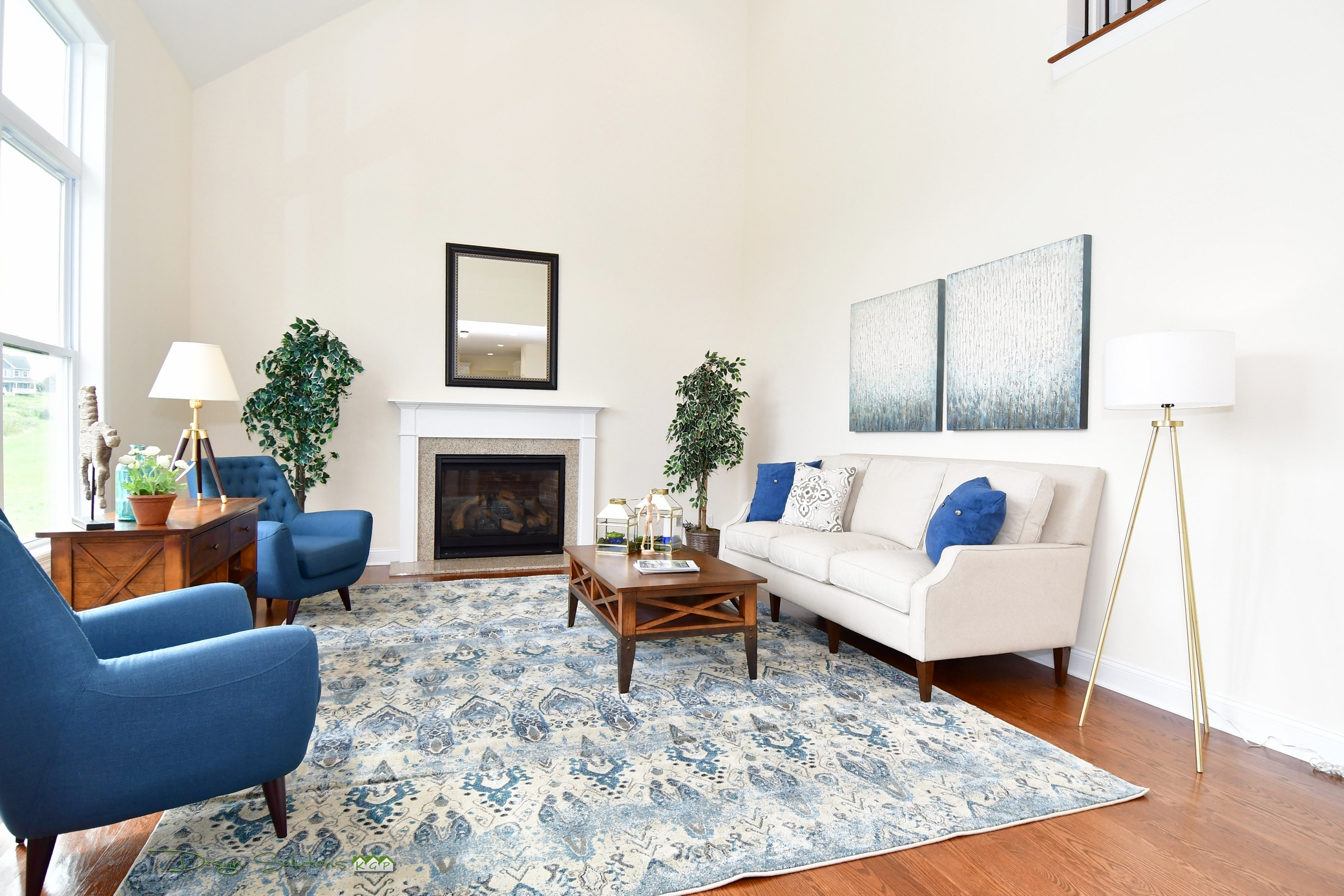 staged living room in blue