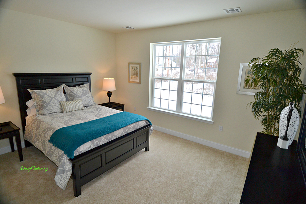 Master bedroom staged