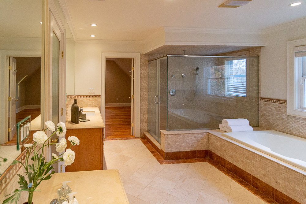 professional staged master bathroom