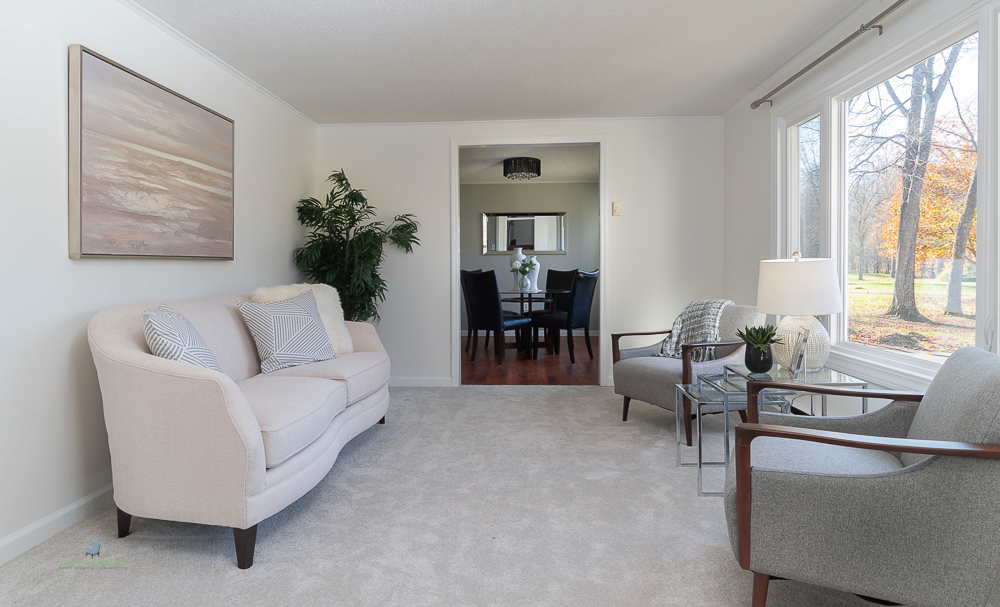 living to dining room staged